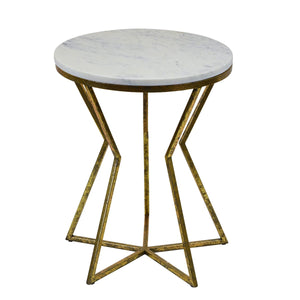 Philippos Marble Topped Cast Iron Side Table, Antique Gold