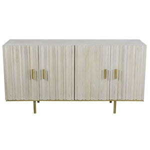 Poseidon Whitewashed Timber  Buffet with Iron Legs
