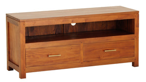Paris 2 Drawer Low Entertainment Unit (Light Pecan)