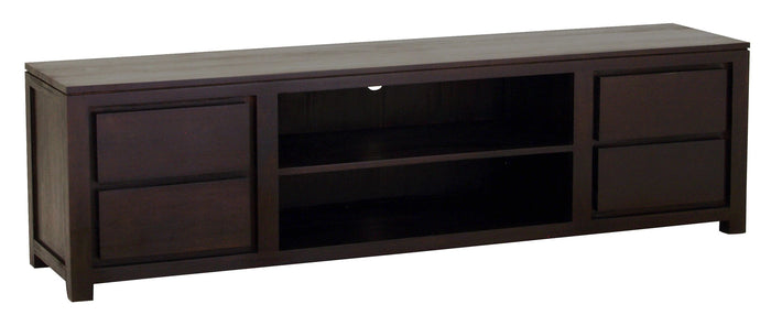 Amsterdam 4 Drawer Entertainment Unit 200cm (Chocolate)