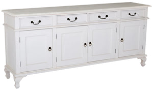 4 Door 4 Drawer Queen Ann Buffet (White)
