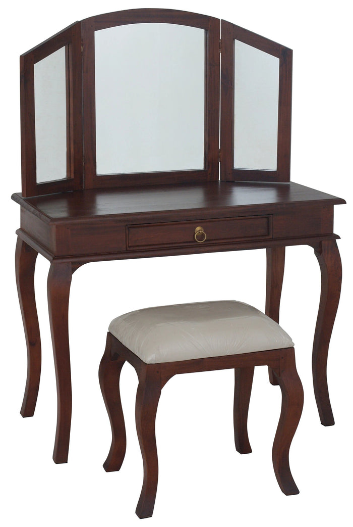Queen Ann 1 Drawer Large Dressing Table & Stool (Mahogany)