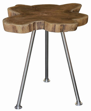 Recycled Timber Lamp Table with Stainless Steel Leg