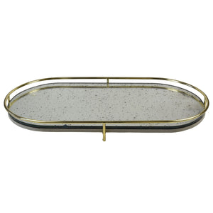 Stanmore Glass Top Metal Tray, Gold