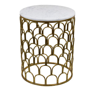 Stavros Marble Top Cast Iron Side Table, Antique Gold