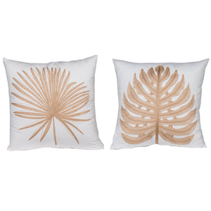 Set of 2 White Embroidered Square Cushion