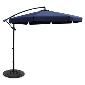 Instahut 3M Umbrella with 48x48cm Base Outdoor Umbrellas Cantilever Sun Beach UV Navy