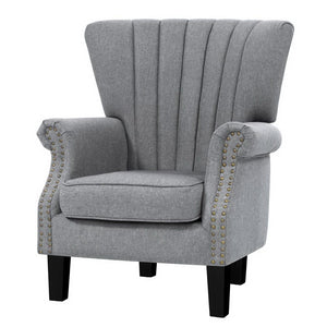 Artiss Upholstered Fabric Armchair Accent Tub Chairs Modern seat Sofa Lounge Grey