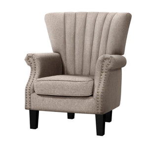 Artiss Armchair Lounge Chair Accent Chairs Armchairs Fabric Single Sofa Beige