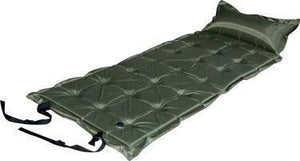 Trailblazer 21-Points Self-Inflatable Satin Air Mattress With Pillow - OLIVE GREEN
