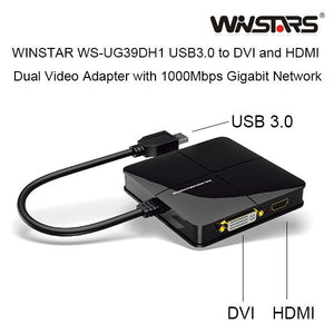 WINSTAR WS-UG39DH1 USB3.0 to DVI and HDMI Dual Video Adapter with 1000Mbps Gigabit Network (white)