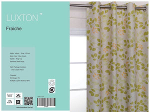 Olive Green Leaf Eyelet Blockout Curtain 140x221cm