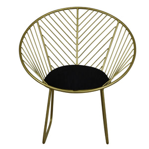 Venus Upholstered Iron Chair, Vintage Brass