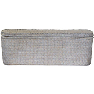 Verandah Rattan Bed End Chest, Whitewash