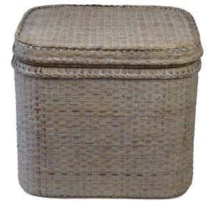 Verandah Rattan Square Chest, Whitewashed