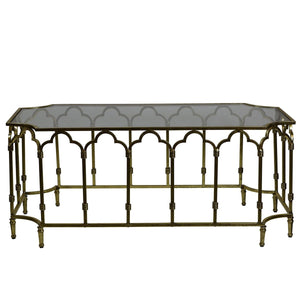 Windsor Glass Top Metallic Coffee Table, Antique Gold