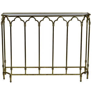 Windsor Glass Top Metallic Console, Antique Gold