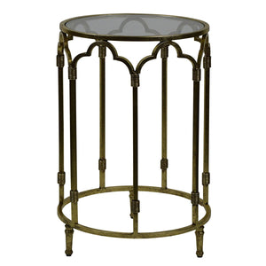 Windsor Glass Top Metallic Side Table, Antique Gold