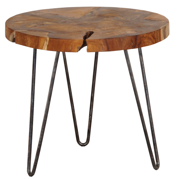 Recycled Teak with Iron Leg Side Table