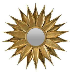 Zinnia Metal Framed Round Wall Mirror Gold