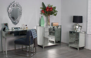 Glamour Mirrored 3 Drawer Bedside Table