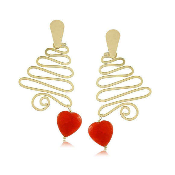 10277R 18K Gold Layered Earring Red