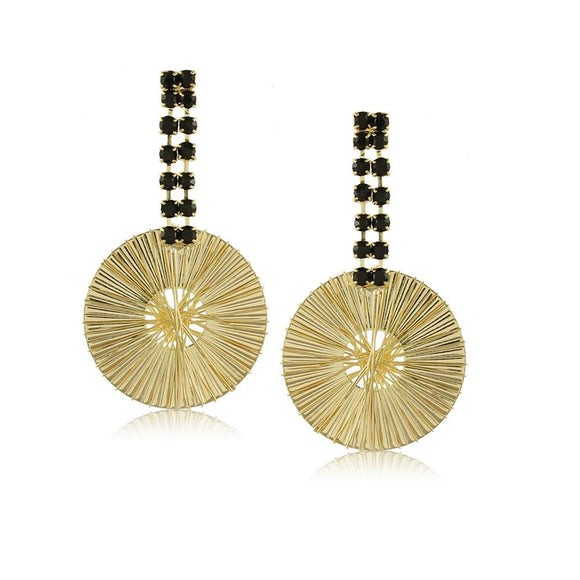 10365R 18K Gold Layered Earring Black
