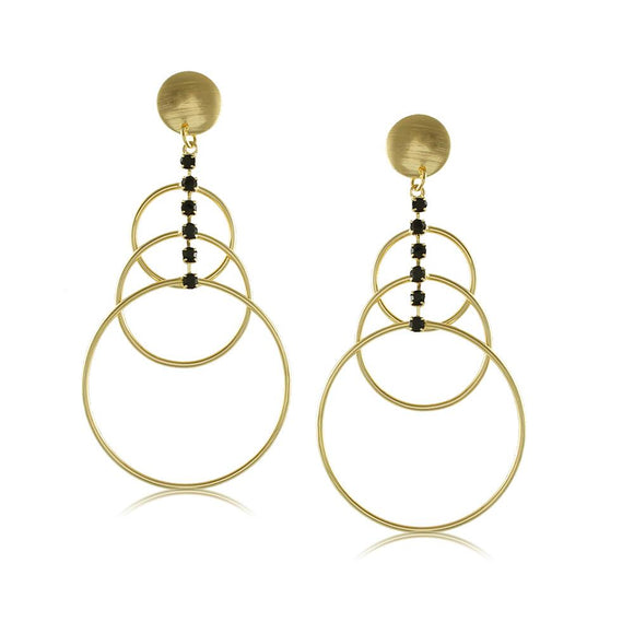 10367R 18K Gold Layered Earring Black