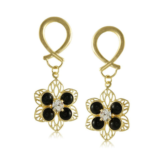 10475R 18K Gold Layered Earring Black