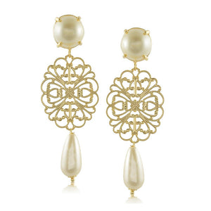 10560R 18K Gold Layered Earring Pearl