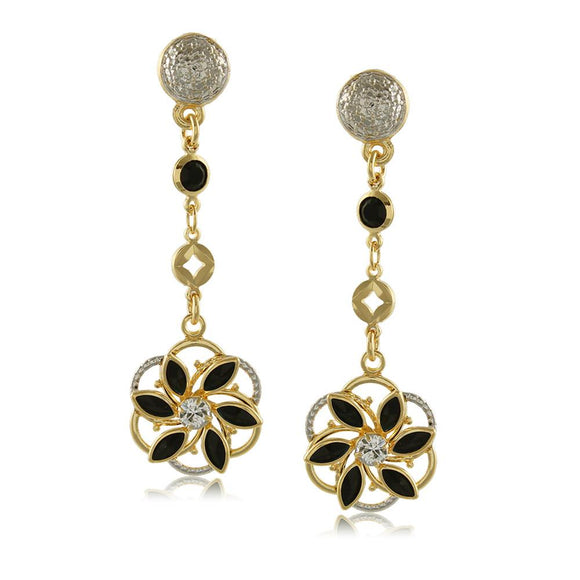 10719R 18K Gold Layered Earring Black