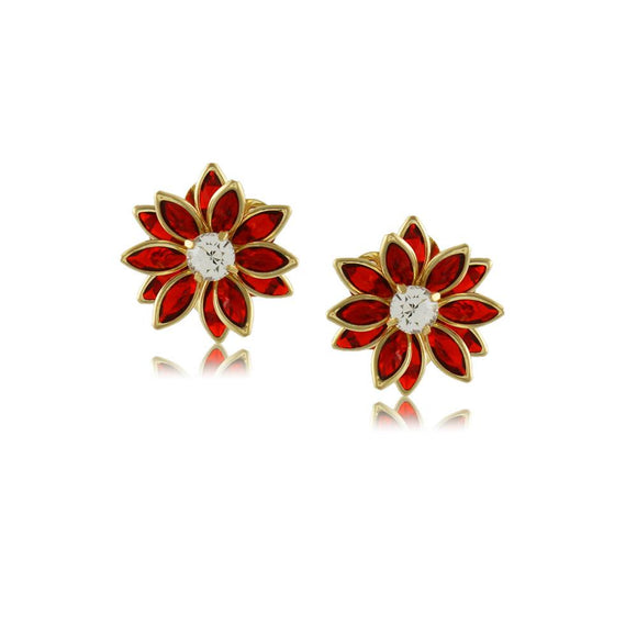 10735R 18K Gold Layered Earring Red