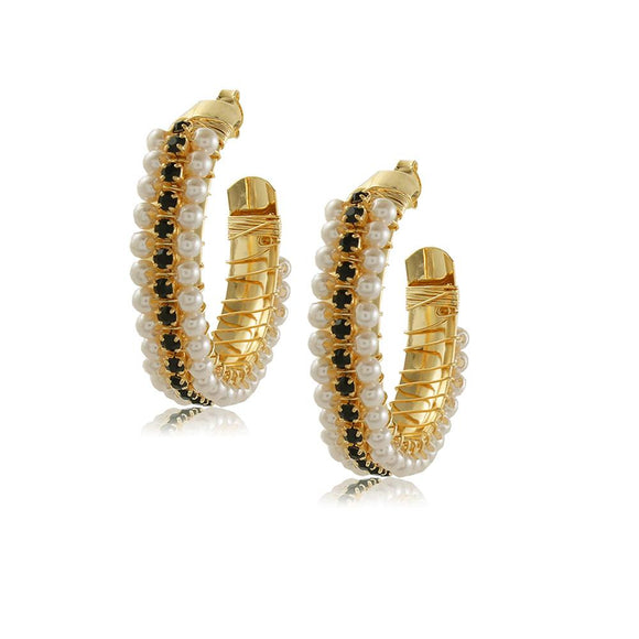 10758R 18K Gold Layered Hoop Earring