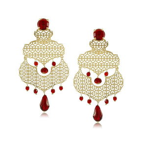 10982R 18K Gold Layered Earring Red