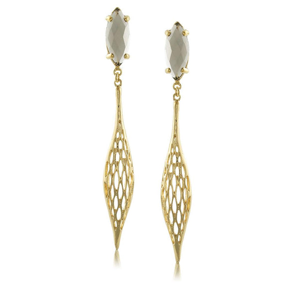 10985R 18K Gold Layered Earring Gray