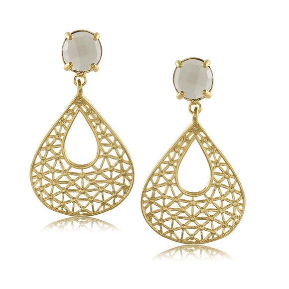 10986R 18K Gold Layered Earring Gray