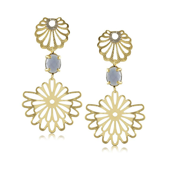 10990R 18K Gold Layered Earring Dark Blue