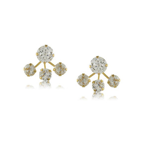 11659R 18K Gold Layered Earring Clear Crystal
