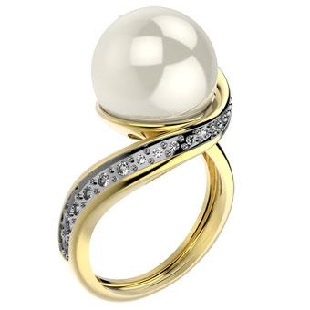 12675 18K Gold Layered Pearl and Natural Stone Ring