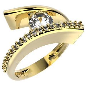 13165 18K Gold Layered CZ Ring
