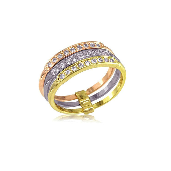 13244 18K Gold Layered 3 Tone Ring
