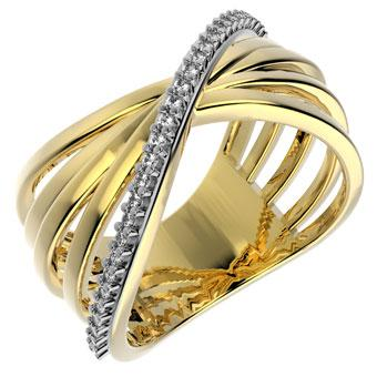 13316 18K Gold Layered Clear CZ Ring