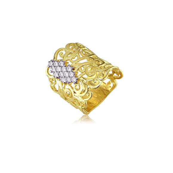 13376 18K Gold Layered CZ  Ring