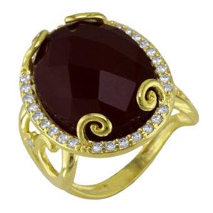 13831 18K Gold Layered Nat Stone and CZ Ring
