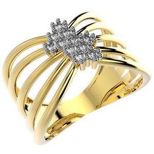 14000 18K Gold Layered Clear CZ Ring