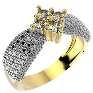 14045 18K Gold Layered Clear CZ Ring