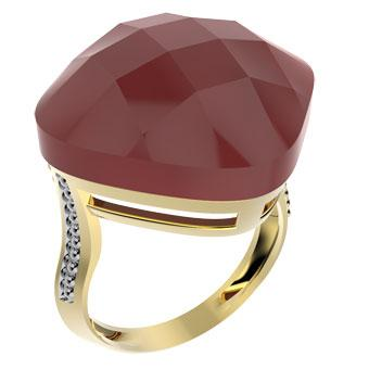 14089 18K Gold Layered Natural Stone Ring