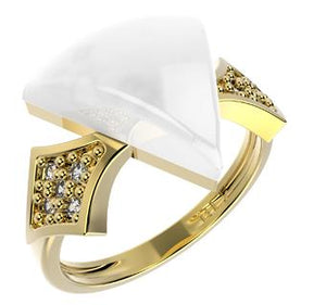 14245 18K Gold Layered CZ and Natural Stone Ring