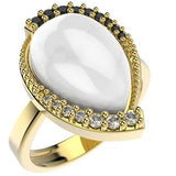 14256 18K Gold Layered CZ and Natural Stone Ring