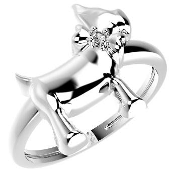 19016P CZ 925 Silver Kid's Ring